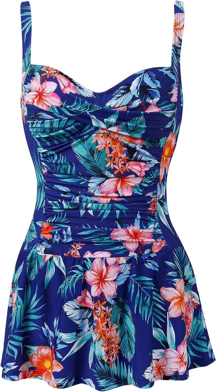 Joyaria Womens Tummy Control One Piece Swimsuit with Skirt Retro Swimdress