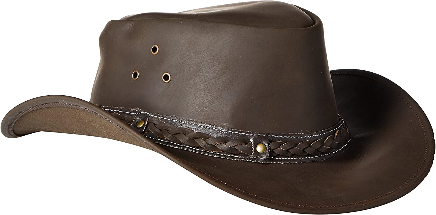 Conner Brown Leather Outback Packable Hat A1001BRN