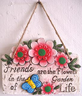 Hanging Wall Plaques Signs with Garden Theme Flowers Butterflies Friends Rustic Concrete (Red Flowers)
