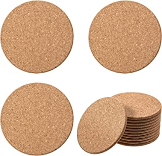 Boao Wooden Thick Cork Drink Coasters, for Home Bar Kitchen Restaurant Cafe Wedding Supplies (0.2 Inch Thick x 4 Inch Diameter, 12 Packs)