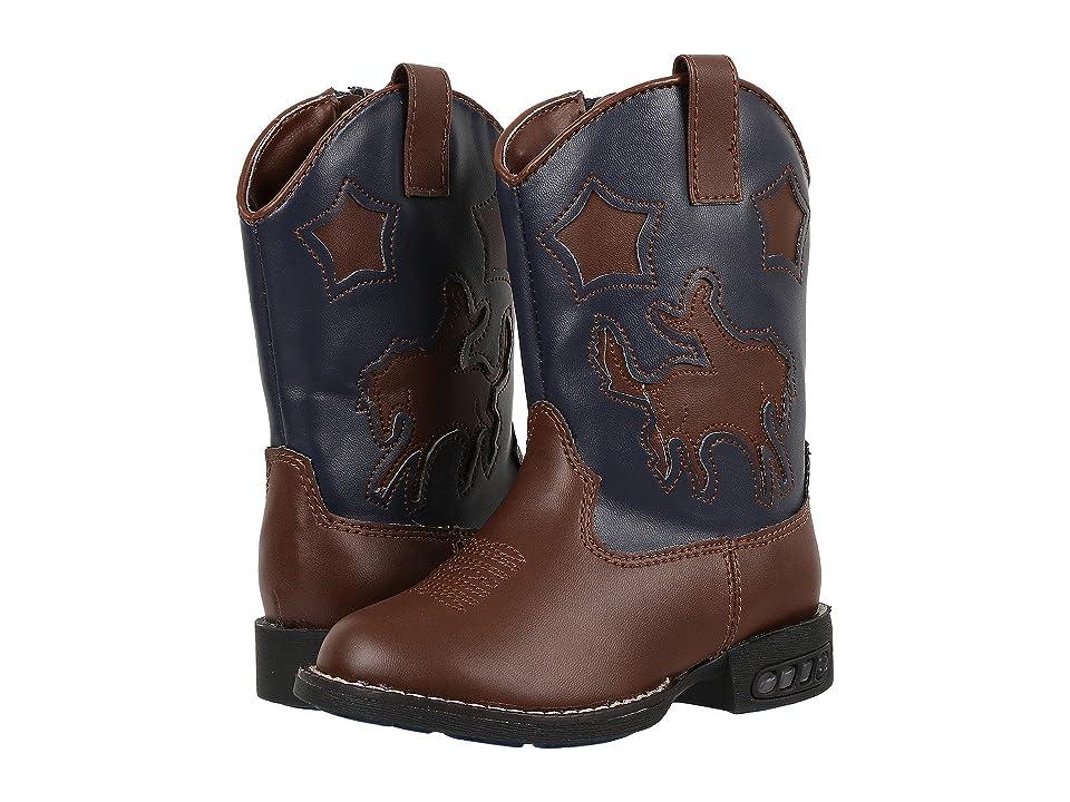 Roper Kids Western Lights Cowboy Boots (Infant/Toddler) (Tan/Navy) Cowboy Boots