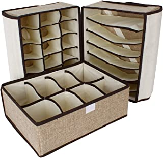 BlushBees® Foldable Undergarment, Socks Organizer Divider with Lid, 7/8 / 18 Cells, 3 Piece Set, Brown