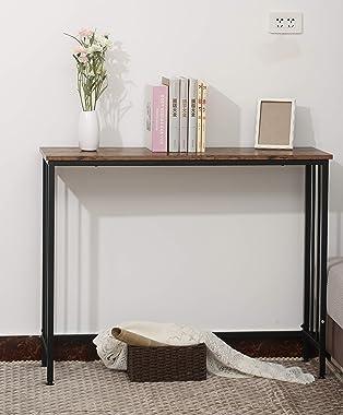 Industrial Console Table, Sofa Table for Living Room,Hallway,Entryway, Entrance Hall, Corridor - Wood Look Metal Frame 38.6&#