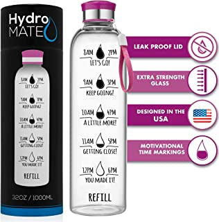 HydroMATE 32 Oz Motivational Glass Water Bottle with Time Marker   Leak Proof   BPA-Free   Track Intake & Drink More Water Daily   Safe For Travel To-Go & Hot Liquids Tea & Coffee   1 Liter