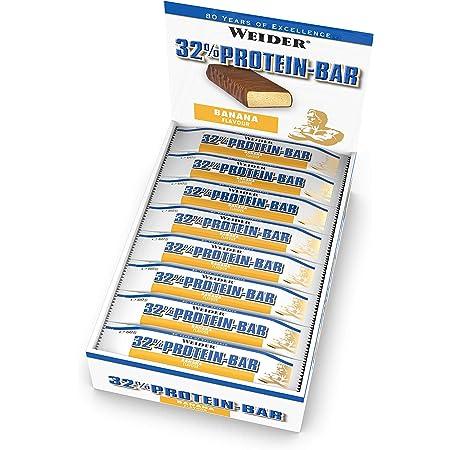 Weider Barrita de Proteína 32%. Sabor Plátano. Libre de grasas trans (24 x 60 g)
