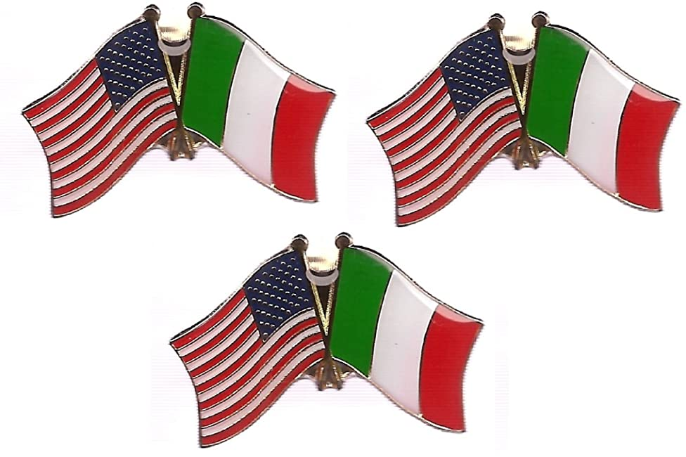 Pack of 3 Italy & US Crossed Double Flag Lapel Pins, Italian & American Friendship Pin Badge