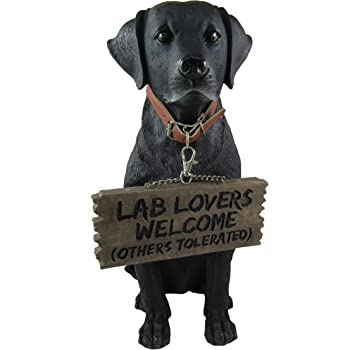 DWK - Bela - Black Labrador Retriever Indoor Outdoor Dog Statue with Reversible Sign Lab Lovers Welcome/Don't Stop Retrievin' Garden Patio Accessory Home Decor Accent, 13-inch…