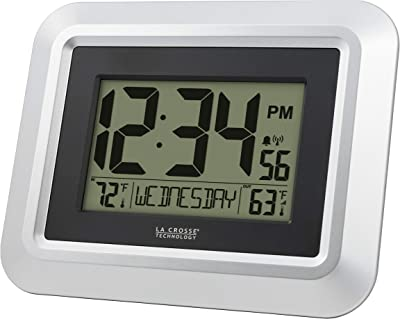 La Crosse Technology 513-1918S-INT Atomic Digital Wall Clock with Temperature, Silver