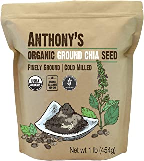 Anthony's Organic Ground Chia Seed, 1lb, Finely Ground, Cold Milled, Gluten Free, Non GMO