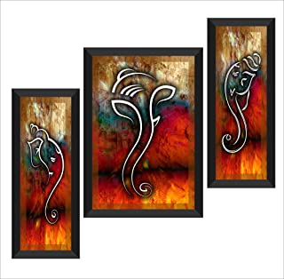 SAF UV Textured Ganesha Modern Art Print Framed Painting Set of 3 for Home Decoration (20 inch X 14 inch) SANFSA1004