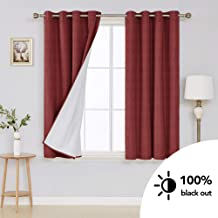 Deconovo 100 Percentage Blackout Curtains with Triple-Pass Coating Back Layer Grommet Top Light Blocking Thermal Insulated Textured Curtain Panels for Living Room 52W x 54L Inch Wine Red