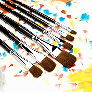 Artist Paint Brushes - Top Quality Red Sable (Weasel Hair) Long Handle, Flat Paint Brush Set for Acrylic, Oil, Gouache and Watercolor Painting Offering Excellent Paint Holding and Easy Flow of Paint
