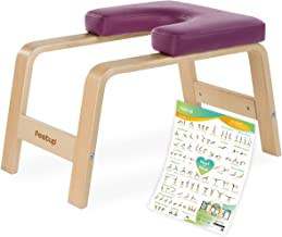 FeetUp® Yoga hoofdstandkruk - originele hoofdstand trainer stoel van beukenhout met bekleding
