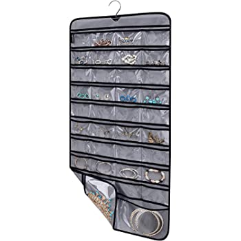 MISSLO Hanging Jewelry Organizer with Rotating Hanger Dual Sides 76 Pockets Accessories Storage for Holding Jewellery(Grey)