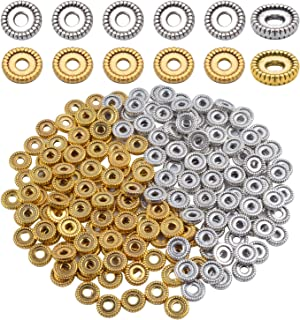 Alloy Spacer Beads, 200 Pieces 7mm Metal Bead Spacers Wheel Gear Bracelet Spacers Craft Beads Findings for Bracelet Necklace Jewelry Making - Silver and Gold Color