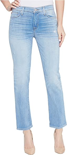 Zoeey Mid-Rise Crop Straight Five-Pocket Jeans in Aura