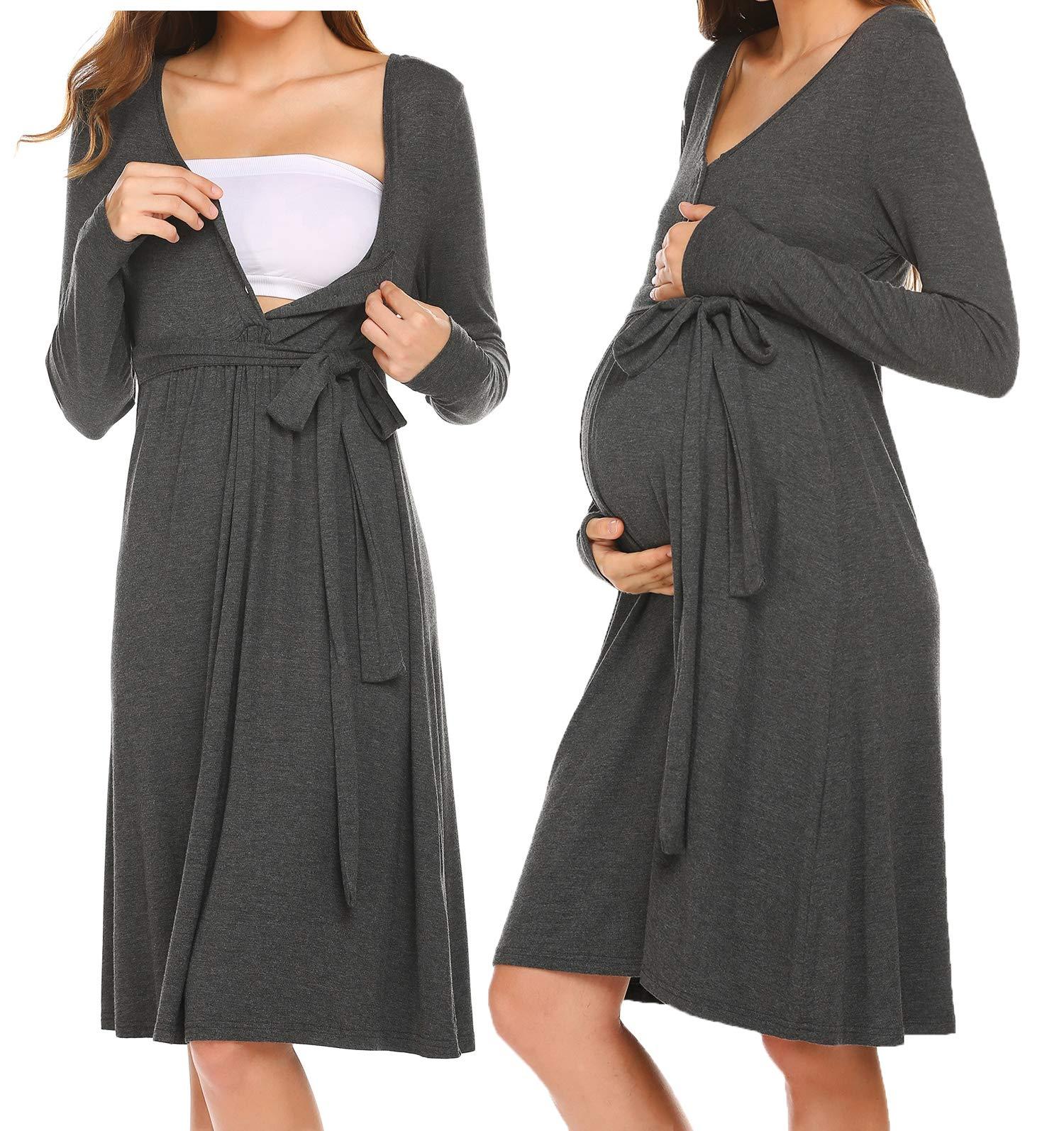 Womens Maternity Nursing//Maternity Dress Nightgown Long Sleeve