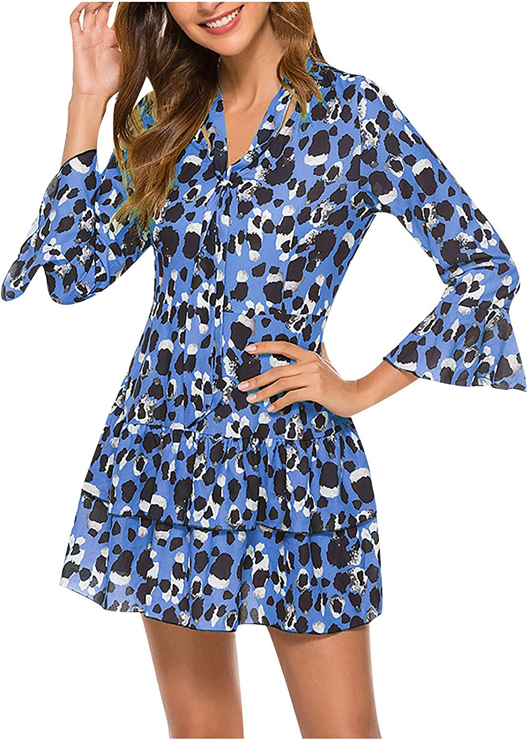 Qonii Dresses for Women 3 4 Sleeve Sale Directly managed store price Printing Band Dress