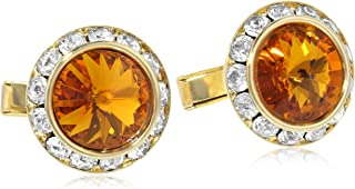 Men's Gold Dark Topaz Crystal Rondell Cuff Links