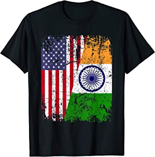 INDIAN ROOTS | Half American Flag | INDIA FLAG T-Shirt