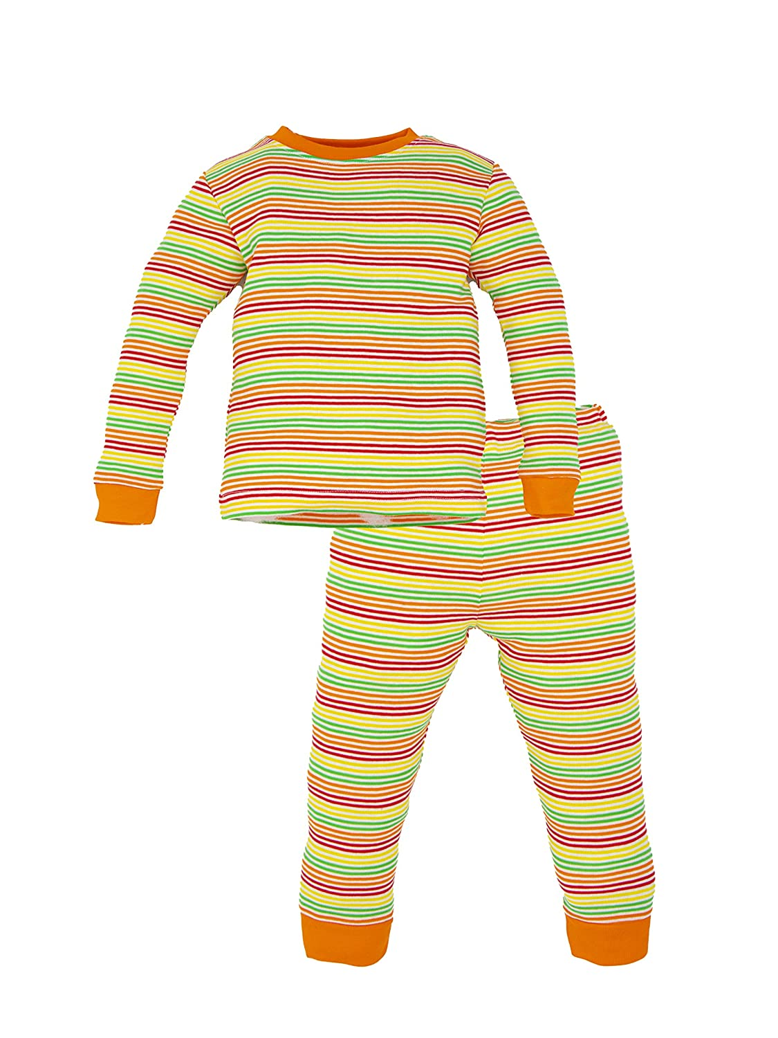Under The Nile Organic Cotton Toddler Multicolor Stripe Long Johns, 12 Months