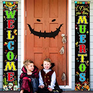Mexican Day The Dead Decoration Set Día de Los Muertos Porch Sign Welcome Day The Dead Banner Hanging Decoration for Indoo...
