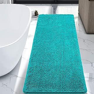 LOCHAS Luxury Bathroom Rug Teal Bath Mat Runner 24 x 60 Inch, Shaggy Washable Non Slip Bath Rugs for Bathroom Shower, Soft Plush Chenille Absorbent Carpets Mats, Teal Blue