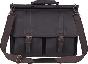 """Kenneth Cole Reaction Colombian Leather Dual Compartment Flapover 15"""" Laptop Dowelrod Business Portfolio, Brown"""