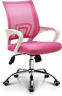 Neo Chair Fashionable Home Office Chair Conference Room Chair Desk Task Computer Mesh Chair : Ergonomic Lumbar Support Swivel Adjustable Tilt Mid Back Wheel (Fashion Mesh Pink)