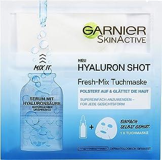 Garnier SkinActive Hyaluron Shot Fresh-Mix Tuchmaske, Glättende Gesichtsmaske enthält Serum mit Hyaluronsäure 3 Stück