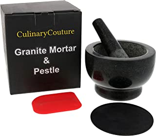 Granite Mortar and Pestle Set - Molcajete - Guacamole Bowl With Polished Exterior, Stylish Dark Grinder And Crusher - WITH Silicone Mat & Scraper