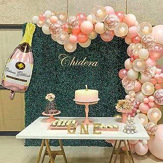 124Pcs Champagne Rose Gold Balloon Garland Arch Kit, 40 Inch Champagne Bottle Balloon and Rose Gold Confetti Pink White Ba...