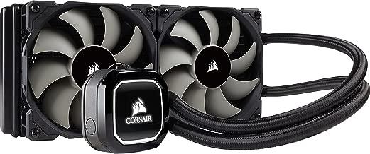 Corsair Hydro Series H100x - Refrigerador líquido para CPU (Radiador de 240 mm, dos ventiladores PWM de 120 mm, LED blanco), Negro