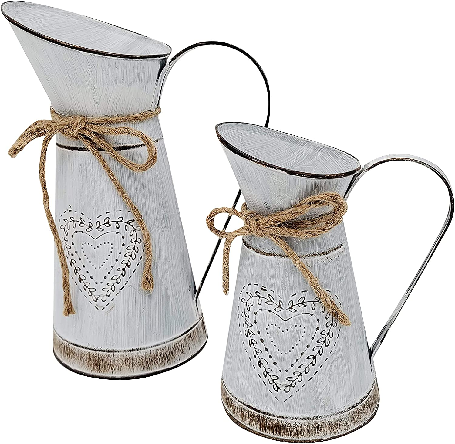 Decorative Rustic Vintage Metal Farmhouse Pitcher Flower Vase Set - White Washed Primitive French Style Shabby Chic Home Decor - Weddings Kitchen Bathroom - Giftable