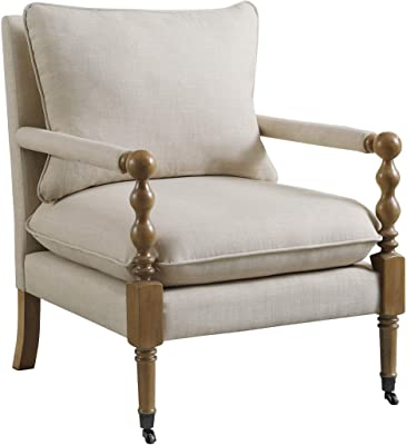 """Coaster Home Furnishings Upholstered Casters Beige Accent Chair, 35.5"""" H x 31"""" W x 26.5"""" D"""
