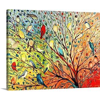 """Twenty Seven Birds Canvas Wall Art Print, 20""""x16""""x1.25"""""""
