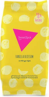 SweetSpot Labs Natural, pH Balanced, Personal Gentle Body Wipes, Vanilla Blossom, 30 Count   Dermatologist & Gynecologist Tested