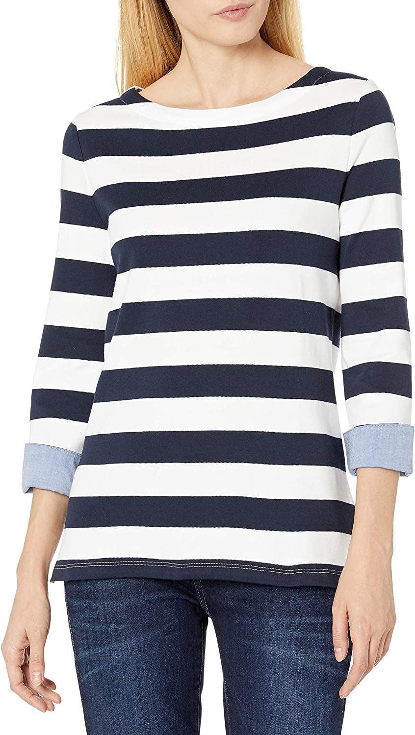 Nautica Women's Boatneck 3 4 Cotton We OFFer at cheap prices 100% Shirt Sleeve Ranking TOP9