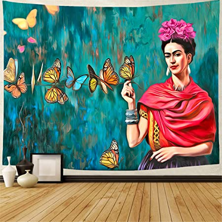 Amazon Com Geves Frida Kahlo Tapestry Butterflies Large Wall Hanging Tapestries Mural For Bedroom Living Room Dorm Home Decoration Everything Else