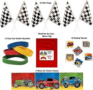 Racing Party Favor Pack 120 pc Kid's Race Car Birthday (24 Mini Checkered Flags, 12 Rubber Bracelets, 72 Tattoos, 12 sticker sheets, Bonus Bag)