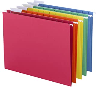 Smead Colored Hanging File Folder with Tab, 1/5-Cut Adjustable Tab, Letter Size, Assorted Primary Colors, 25 Per Box (64059)