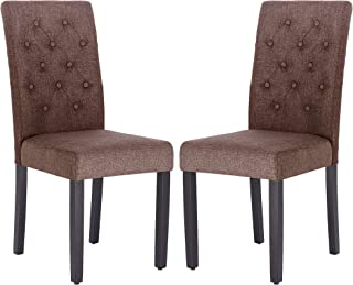 Fabric Dining Chair Modern Tufted Solid Wood Per-Home Padded Parsons Chair for Dining Room Living Room Set of 2(Brown)