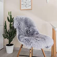 Big Ant Area Rugs, Sheepskin Rug Luxury Chair Cover Seat Cushion Pad, Natural Plush Fur Area Rug for Bedroom 2ft x 3ft, Gray