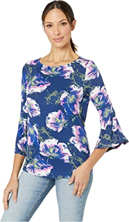 Printed Jersey 3/4 Bell Sleeve Top