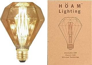 HOAM Lighting Edison Bulb Dimmable LED, Diamond Faceted, 6W LED is 60 Watt Incandescent Equivalent, 2700K Warm Golden Light, G95, 110V 120V E26 E27 Base