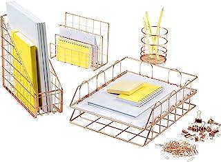 Mindspace 5-Piece Rose Gold Desk Organizer Set | Magazine File Holder, Mail Sorter, Pen Cup Holder, Stackable Letter Tray...