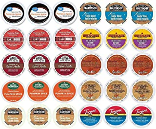 30-count - Limited Edition Fall Flavors Coffee Variety Pack for Keurig K-cup Brewers - Featuring Pumpkin Pie, Butter Toffee or Buttercream, Cinnamon Roll, French Vanilla, Caramel Apple Bread Pudding, Caramel Vanilla Cream, Vanilla Buttercream, Raspberry Truffle, Pumpkin Spice Cappuccino and Spiced Apple Cider