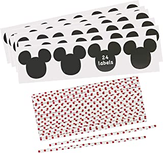 Mickey Mouse Inspired Mouse Ear Vinyl Chalkboard Labels - Polka Dot Paper Straws - Red White Black - 24 Each