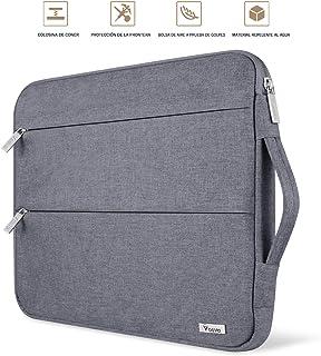 Voova 15 15.6 14 Pulgadas Funda para Portátil, Impermeable con Interior Suave, Compatible con MacBook Pro,Surface Laptop 3 15,XPS 15, Chromebook 14/15 con Asa y Bolsillos Laterales,(Gris)