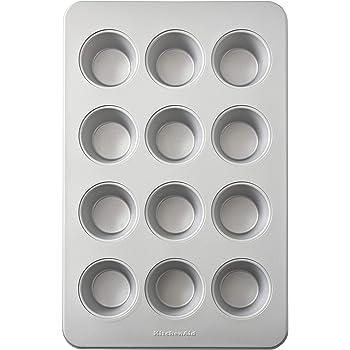 KitchenAid Nonstick Aluminized Steel Muffin Pan, 12-Cup, Silver